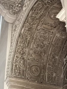 Beautiful relief work by an Italian artist all over the ceilings archways and walls